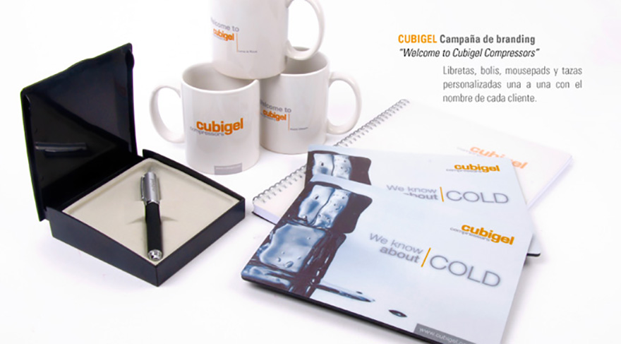 """Diseño y producción de material de merchandising, campaña \""""Welcome to Cubigel Compressors\"""""""