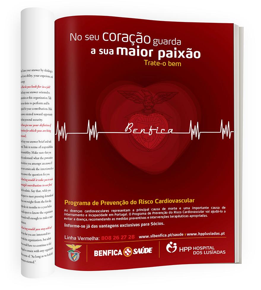 Anuncio de prensa para socios del Club Benfica. HPP Hospital dos Lusiadas, Lisboa
