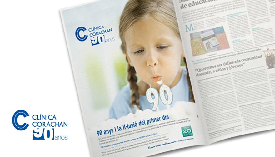 Anuncio de prensa para 90 Aniversario de Clínica Corachán, Barcelona