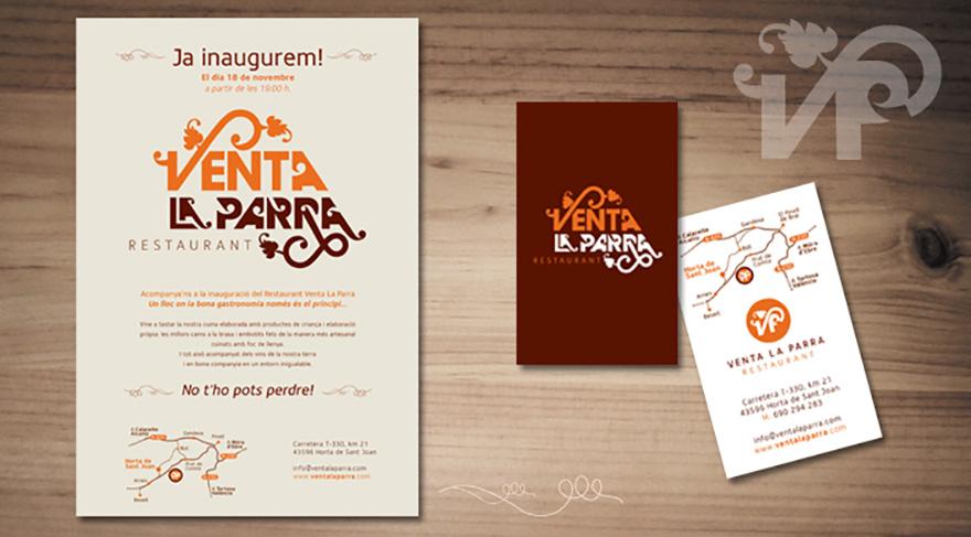 Identidad Venta La Parra. Flyer y tarjetas promocionales